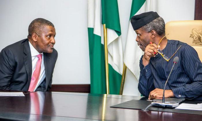 Aliko Dangote and Vice President Yemi Osinbajo (Credit: Novo Isioro)
