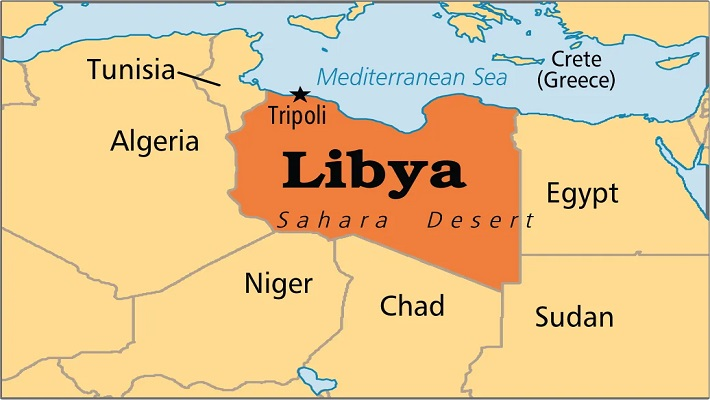 Libya map used to illustrate the story.