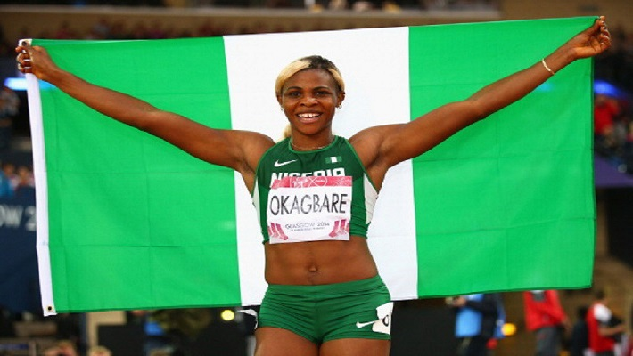 GLASGOW, SCOTLAND - JULY 31: Blessing Okagbare of Nigeria celebrates winning gold in the Women's 200m Final at Hampden Park during day eight of the Glasgow 2014 Commonwealth Games on July 31, 2014 in Glasgow, United Kingdom. (Photo by Ian Walton/Getty Images)