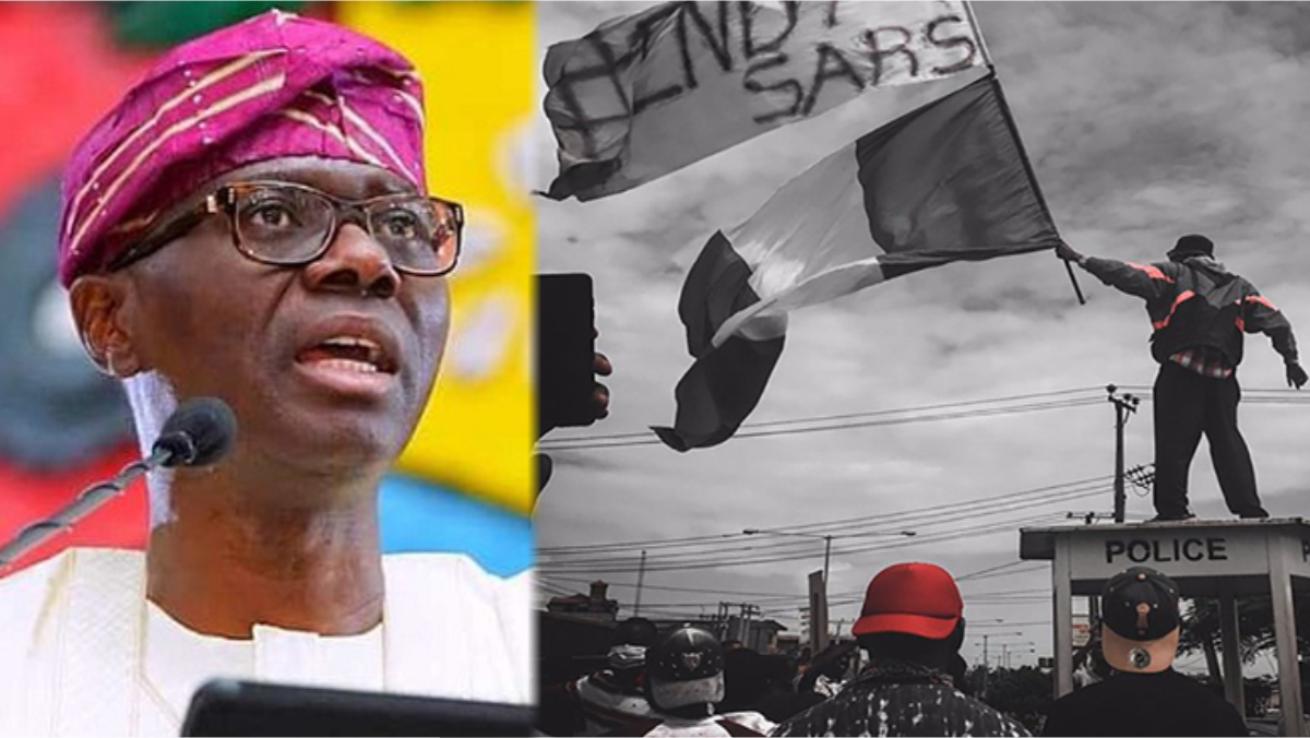 A composite of Governor Babajide Sanwo-Olu and #EndSARS protesters used to illustrate this story