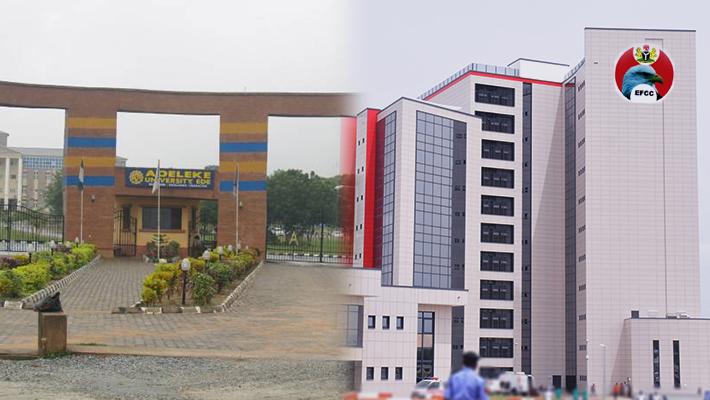 Adeleke University gate and EFCC HQ