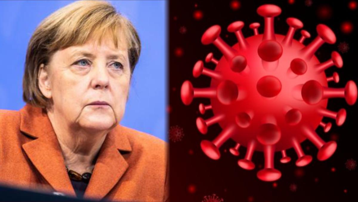 Angela Merkel and Coronavirus used to illustrate the story