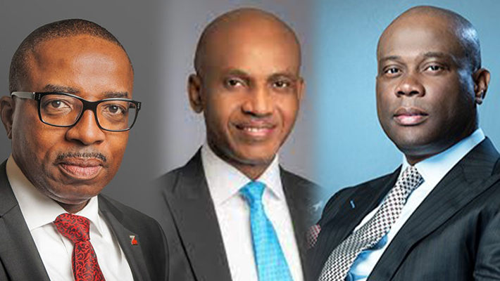 A composite of the three banks' CEOs
