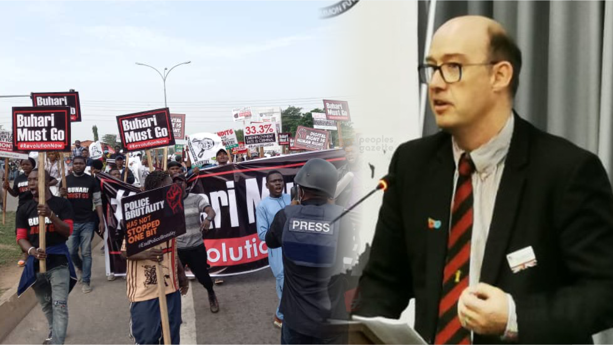 British Deputy High Commissioner (DHC), Ben Llewellyn-Jones and June 12 protesters