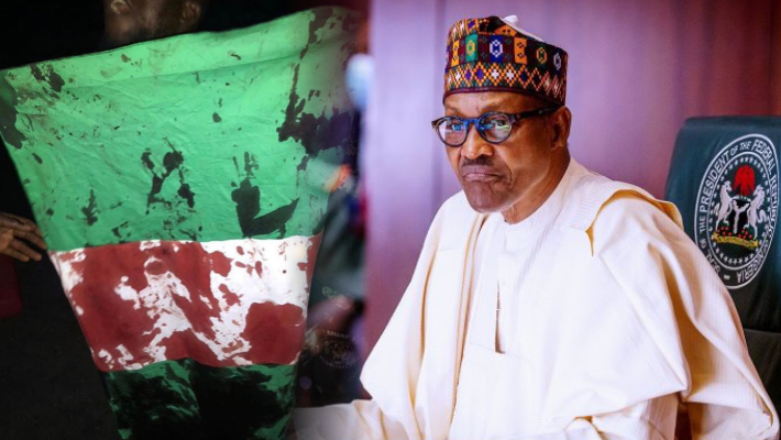 Bloody Nigerian flag and Buhari