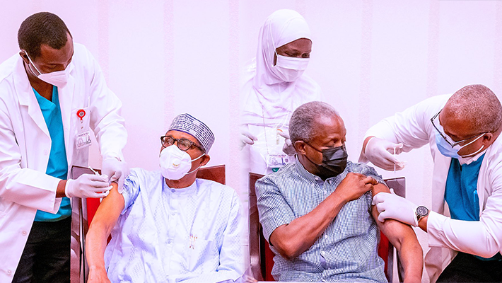 Buhari and Osinbajo taking COVID-19 vaccine jab