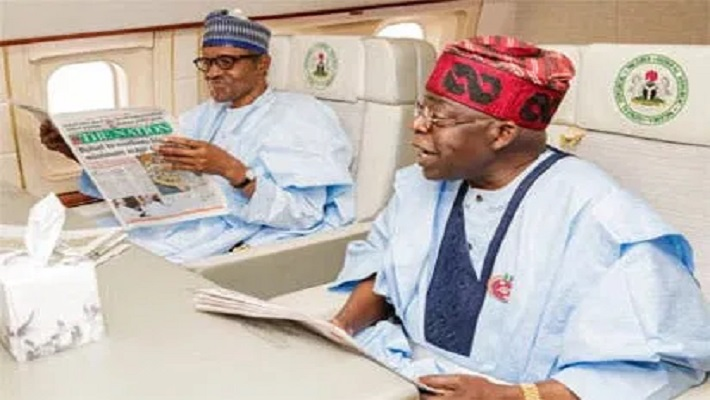 Buhari and Tinubu in the presidential jet