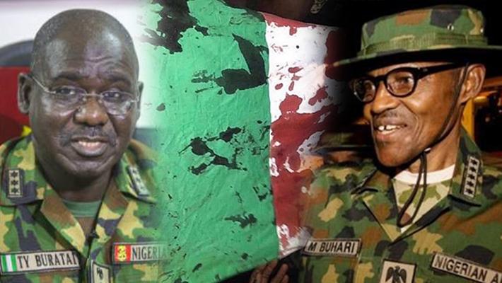 A composite of former COAS Tukur Buaratai, blood stained flag and President Muhammadu Buhari