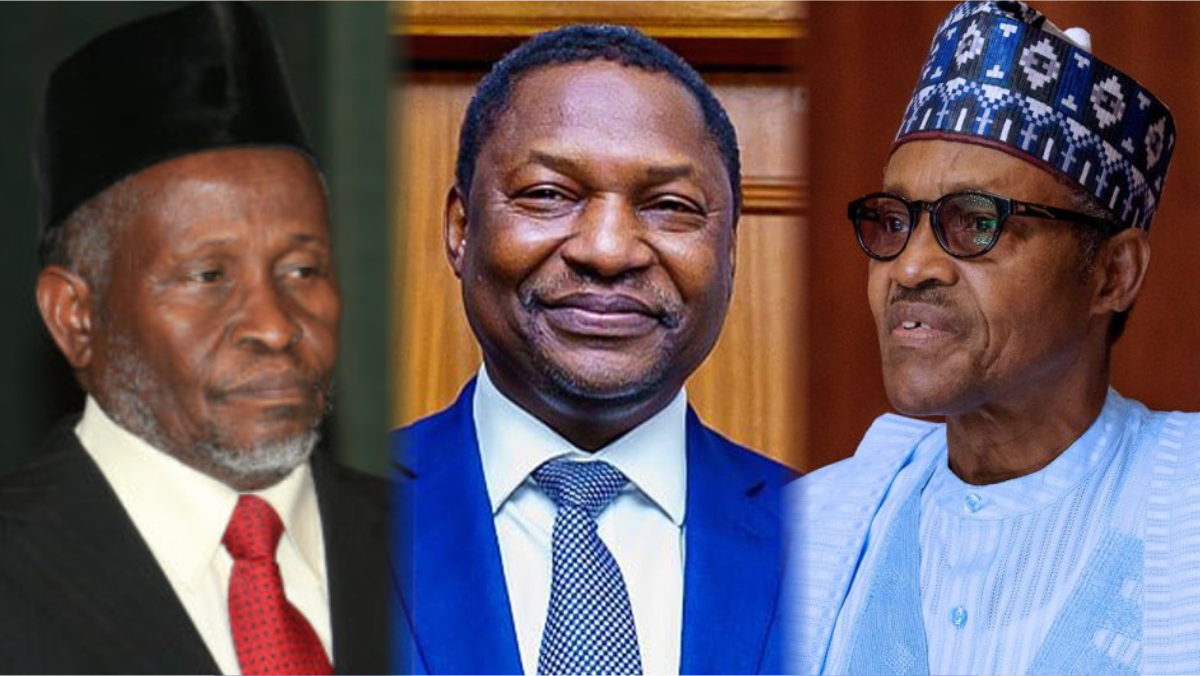 CJN Ibrahim Tanko Muhammad, AGF Abubakar Malami, and President Muhammadu Buhari