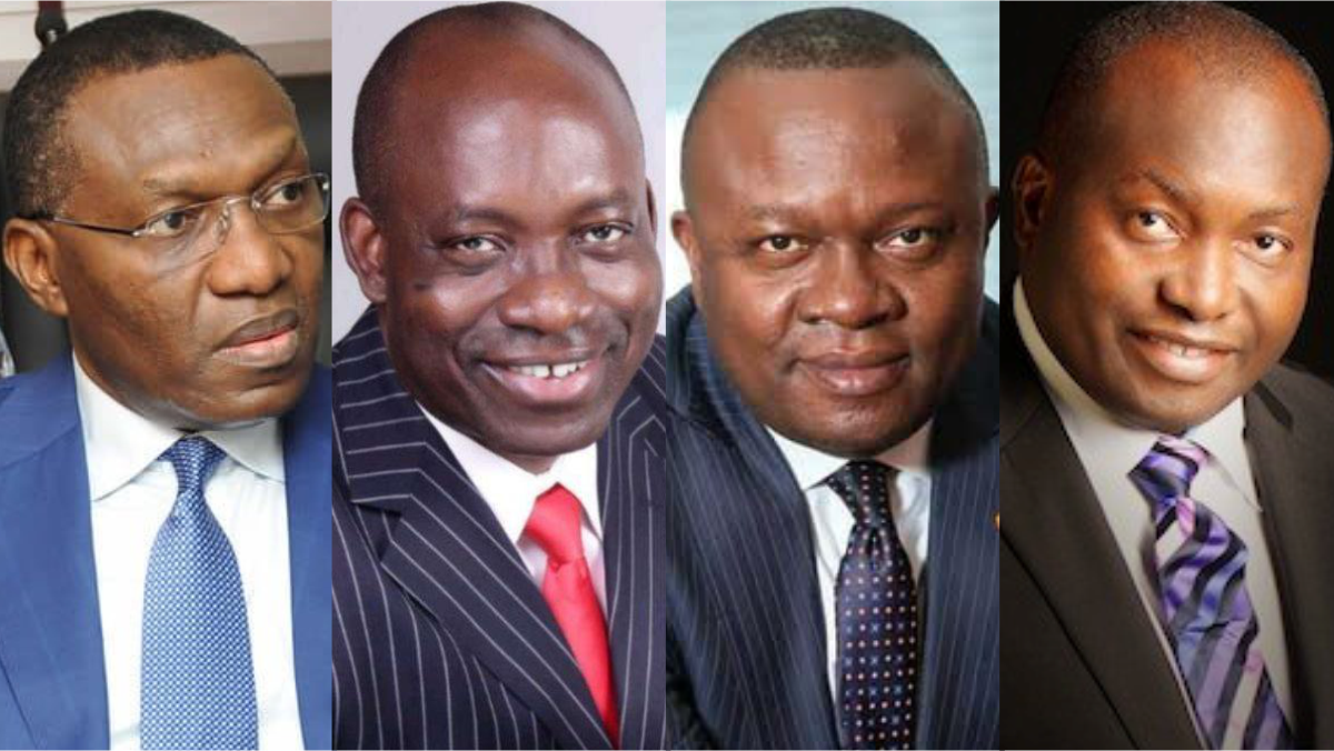 Candidates For Anambra Governorship Election, Andy Uba (APC), Charles Soludo CFR (APGA), Valentine Chineto Ozigbo (PDP), and Ifeanyi Ubah (YPP)