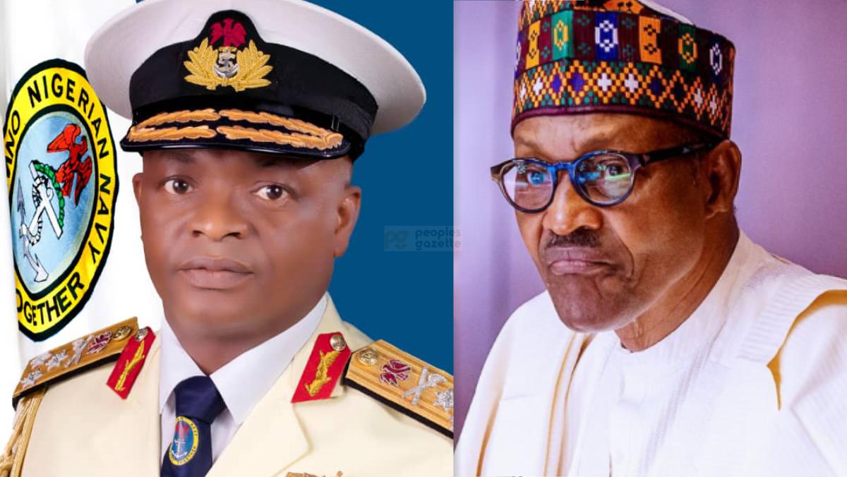 Chief of Naval Staff, Rear Admiral Auwal Gambo and President Muhammadu Buhari