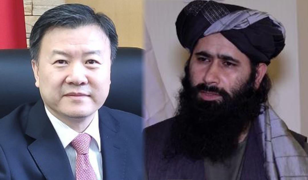 Chinese ambassador Wang Yu and Taliban spokesman Mohammad Naeem