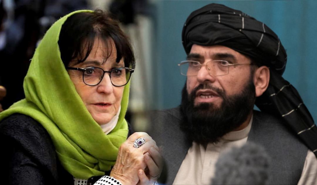 Deborah Lyons and Taliban spokesman, Suhail Shaheen