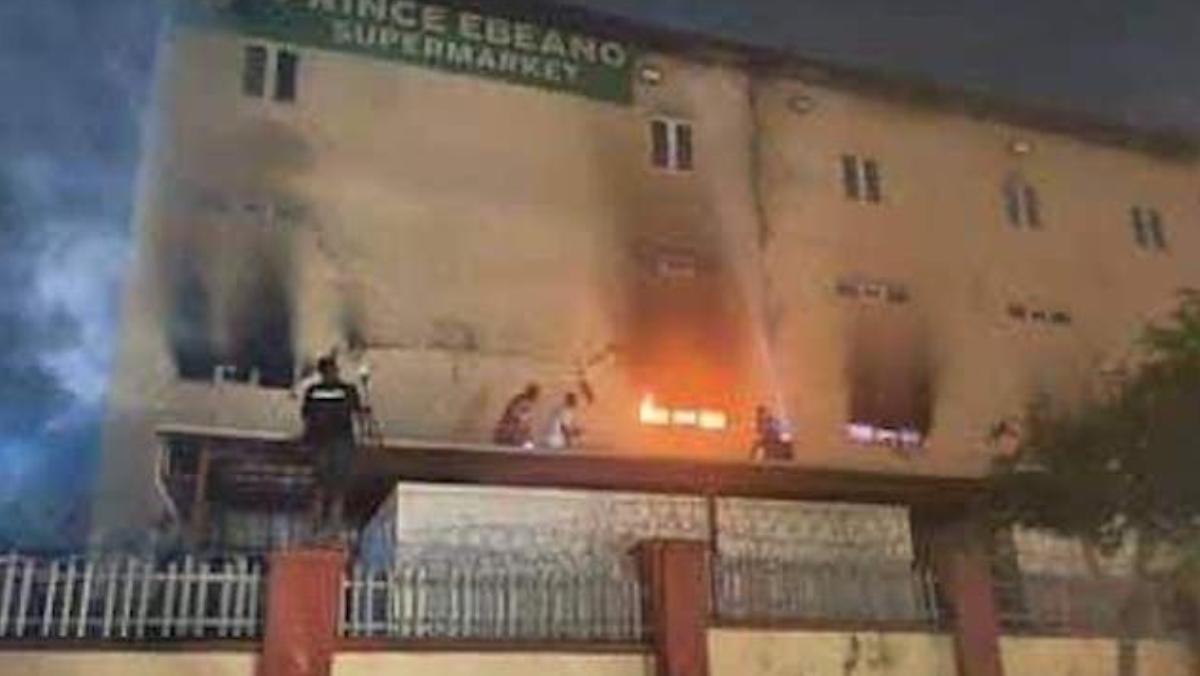 Ebeano supermarket on fire