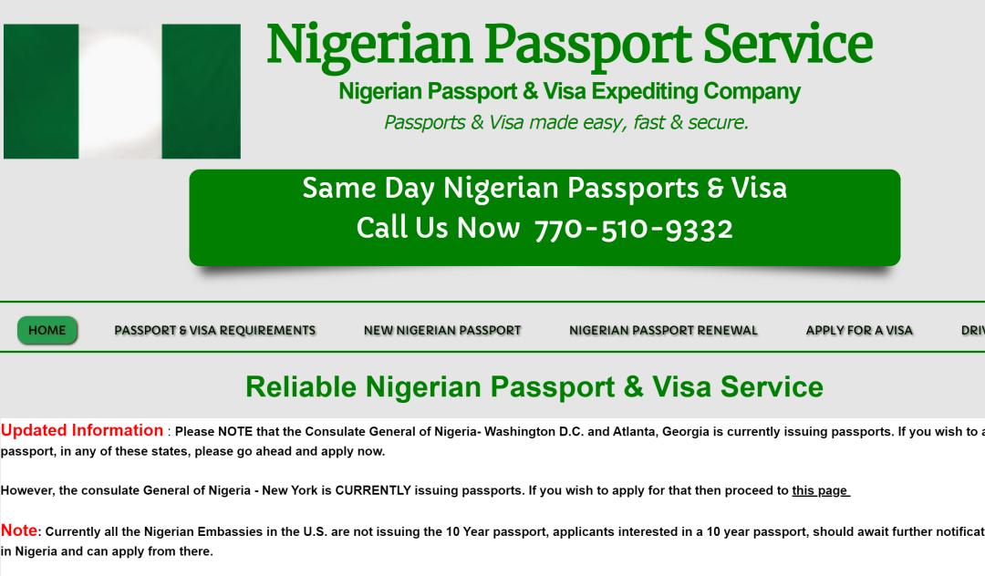 Fake Nigerian passport website