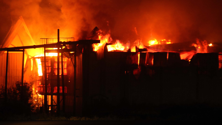 A raging inferno on a building used to illustrate the story