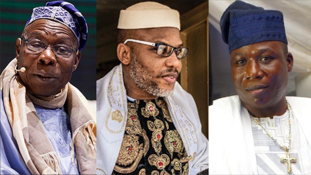 Former Nigerian President, Olusegun Obasanjo, IPOB Leader, Nnamdi Kanu, and Sunday Igboho