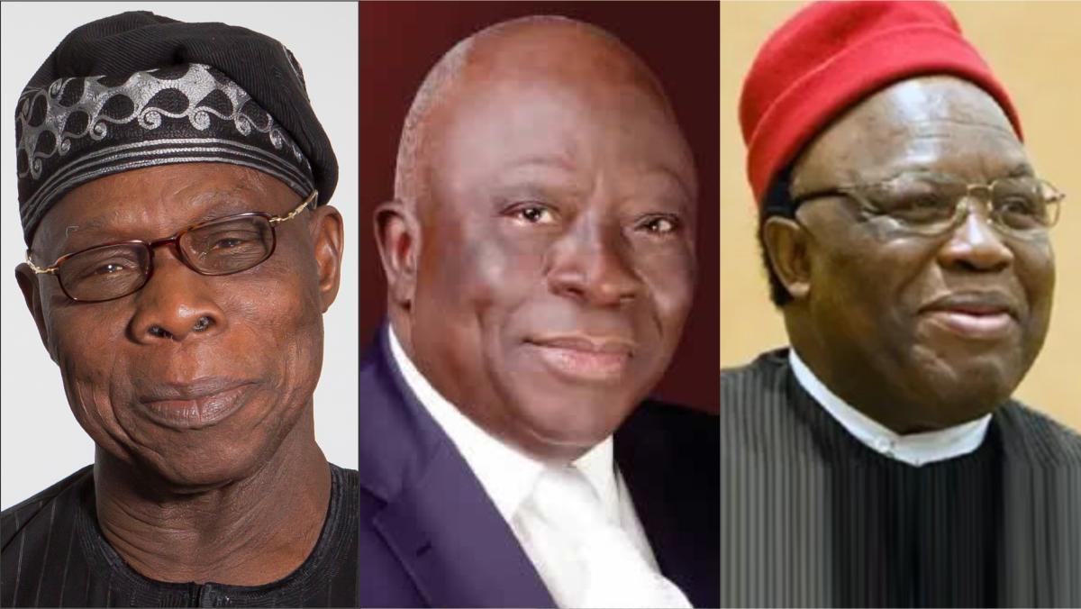 Former President Olusegun Obasanjo, Ayo Adebanjo, and Professor George Obiozor