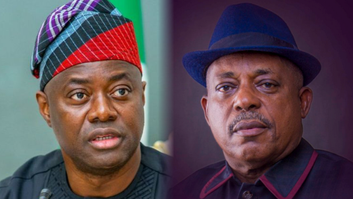 Governor of Oyo State, Seyi Makinde and National Chairman of Peoples Democratic Party (PDP), Prince Uche Secondus