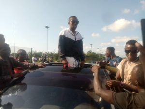 Small Doctor at June 12 protest, Ojota, Lagos