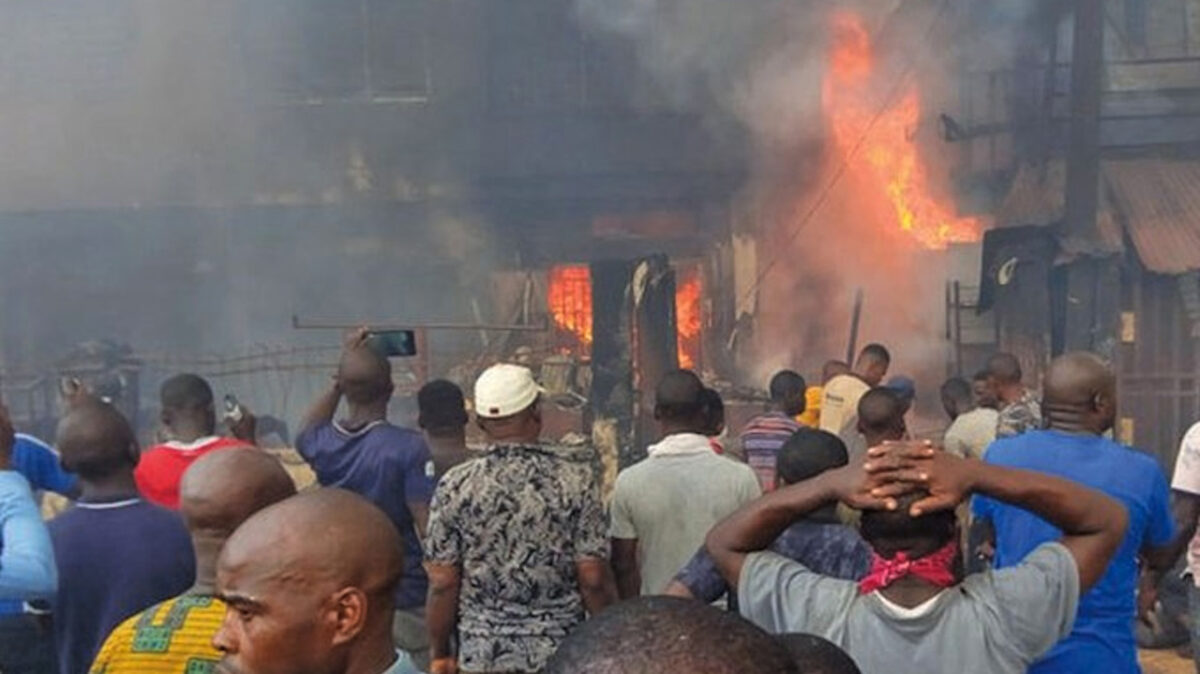 Photo of a burning market used to illustrate this story