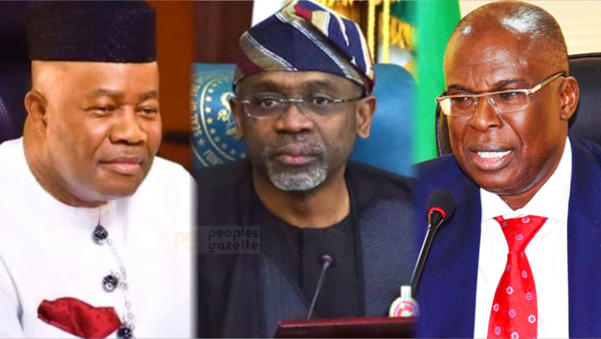 Minister of Niger Delta Affairs Godswill Akpabio, Speaker of House of Reps, Femi Gbajabiamila, and Minister of State for Petroleum Resources Chief Timipre Sylva
