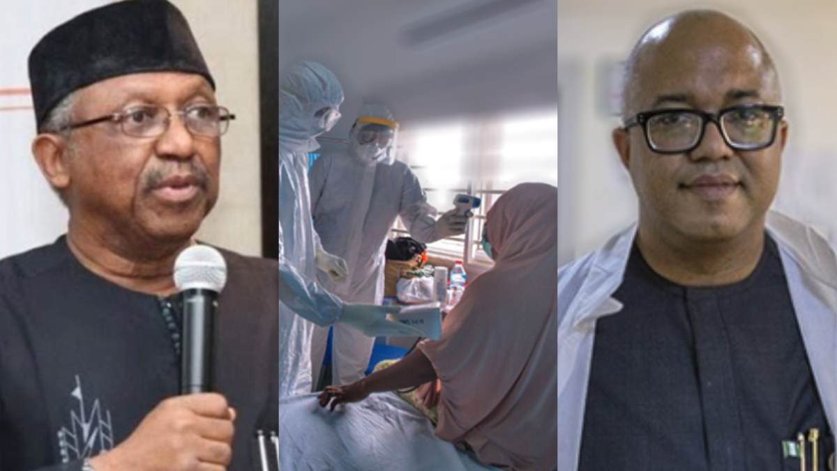 Minister of health Osagie Ehanire, COVID-19 patient, and Director General, NCDC, Chikwe Ihekweazu