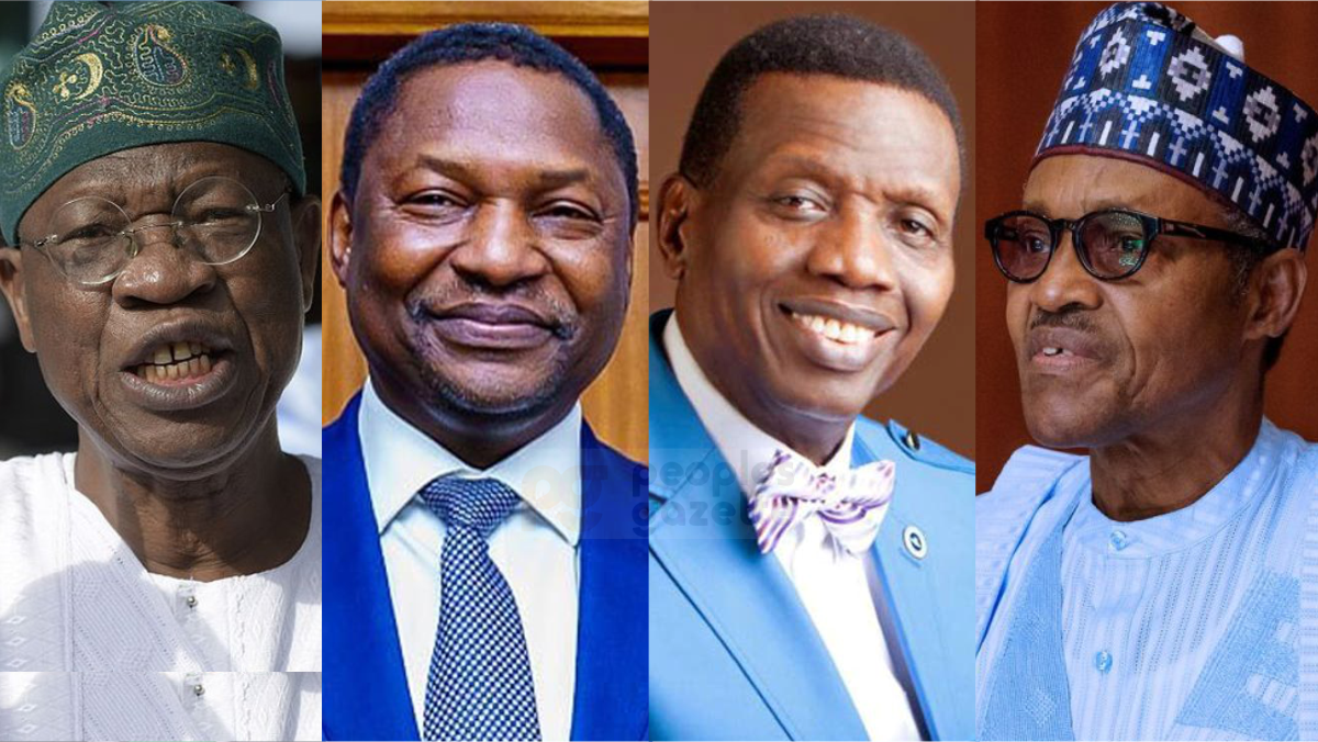 Minister of information and culture, Lai Mohammed, AGF Abubakar Malami, Enoch Adeboye, the religious leader of the Redeemed Christian Church of God (RCCG), and President Muhammadu Buhari