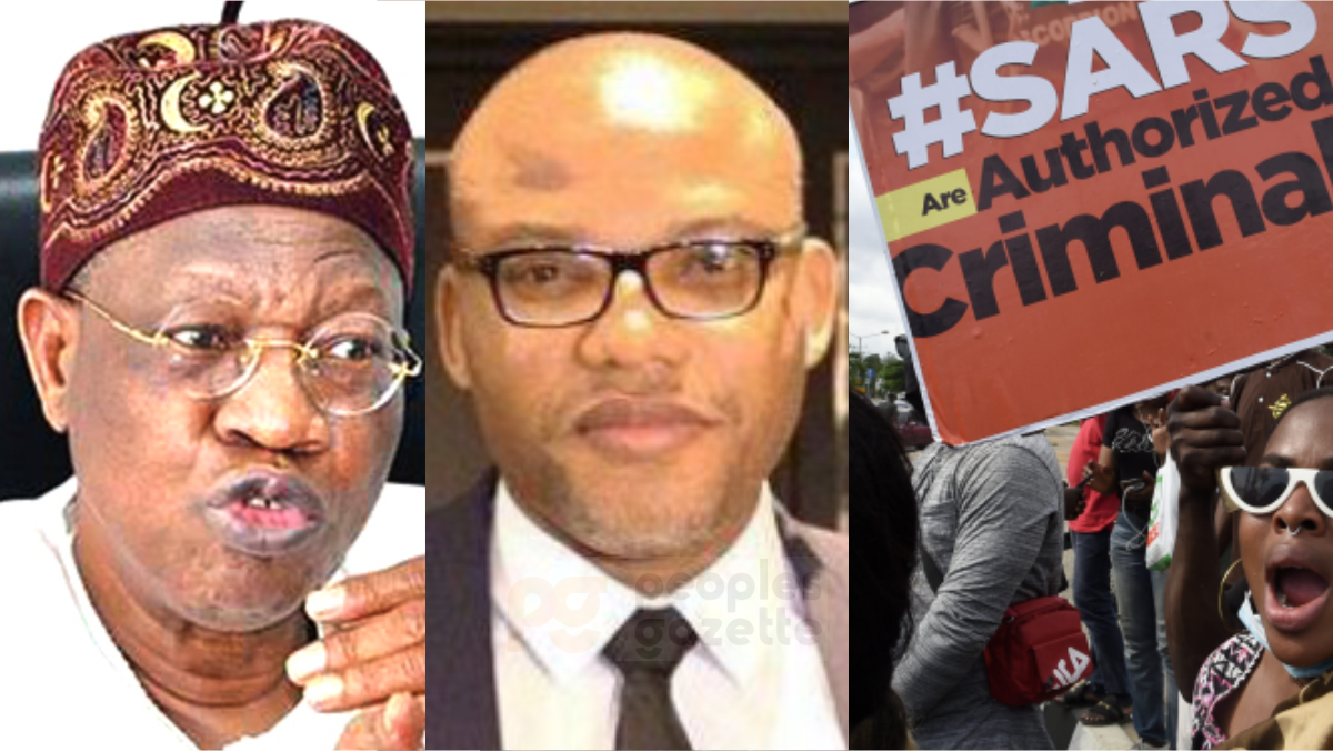 Minister of information and culture, Lai Mohammed, IPOB Leader Nnamdi Kanu, and #EndSARs Protesters
