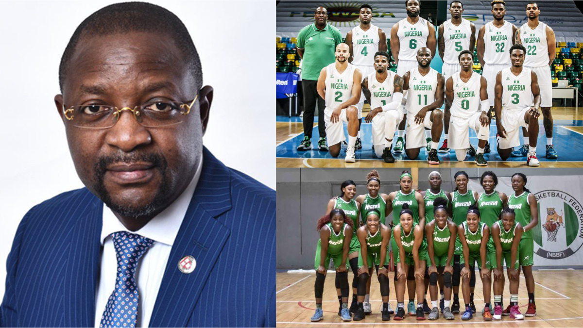 Minister of youth and sports development Sunday Dare, and Nigeria basketball team