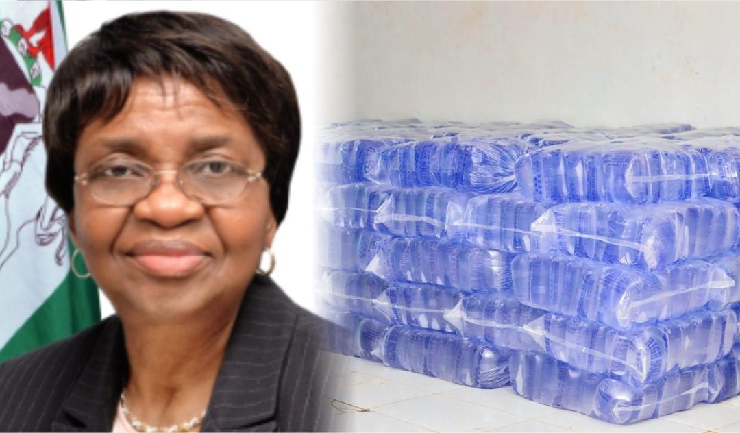 NAFDAC DG Prof. Moji Christianah Adeyeye and Sachet water