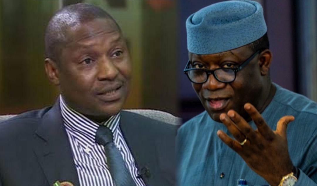 Nigeria's Attorney General, Abubakar Malami and Ekiti State Governor Kayode Fayemi