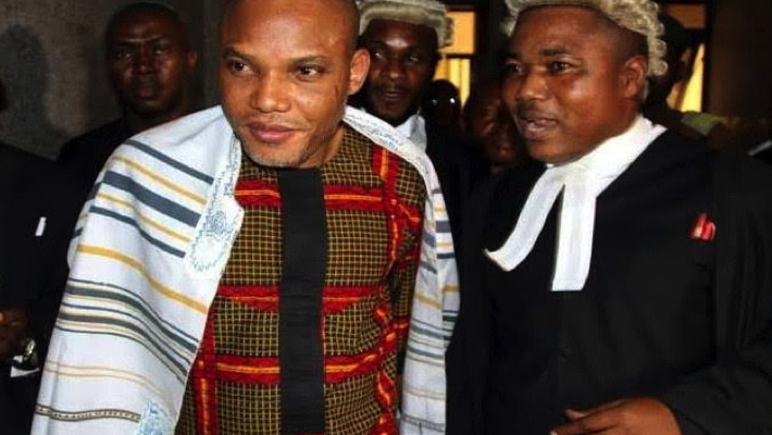 Nnamdi Kanu and lawyer Ifeanyi Ejiofor