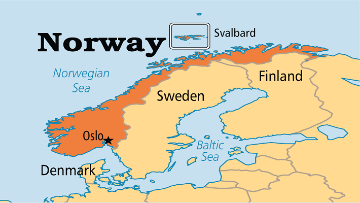 Norway on map
