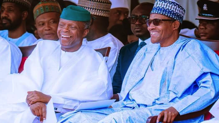 Osinbajo and Buhari laughing used to llustrate the story