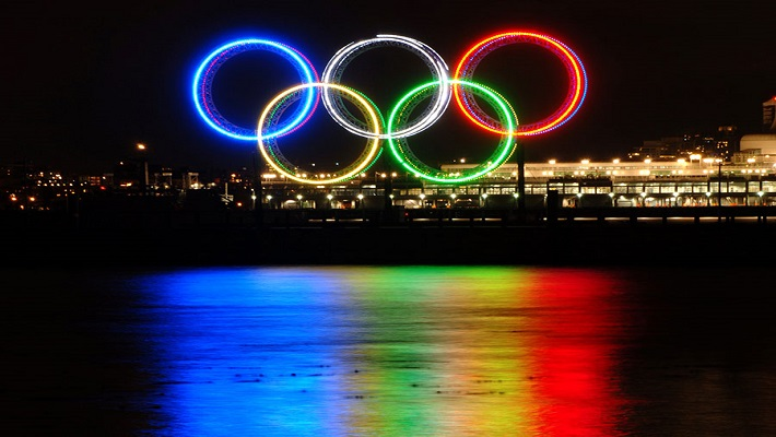Olympics rings used to tell the story.