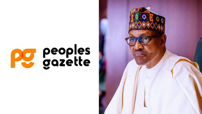 Peoples Gazette Logo and Buhari