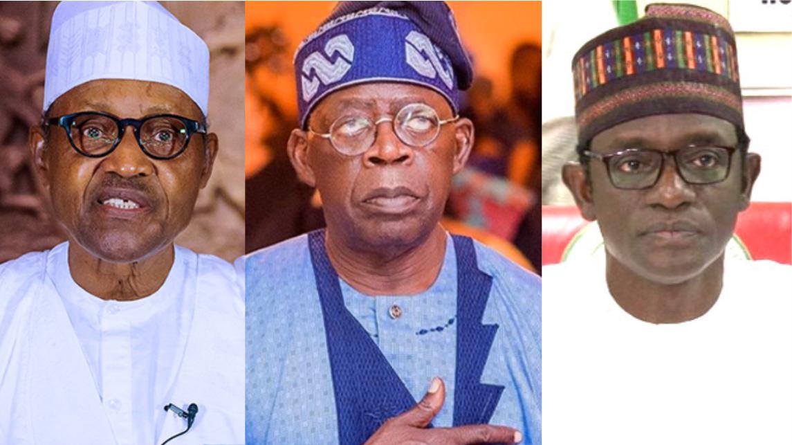 President Muhammadu Buhari, Bola Ahmed Tinubu, and Yobe Governor Mai Mala-Buni