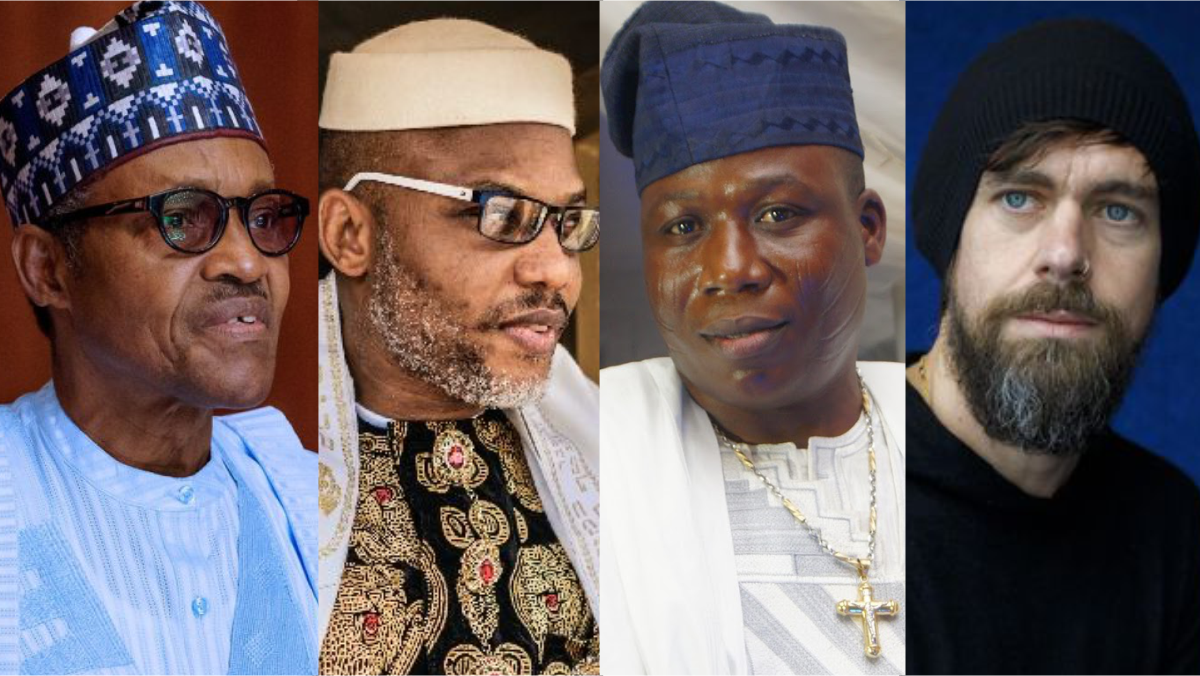 President Muhammadu Buhari, Nnamdi Kanu, Sunday Igboho, and Twitter CEO, Jack Dorsey