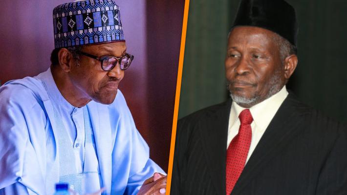 President Muhammadu Buhari and Chief Justice of Nigeria, Ibrahim Tanko Muhammad
