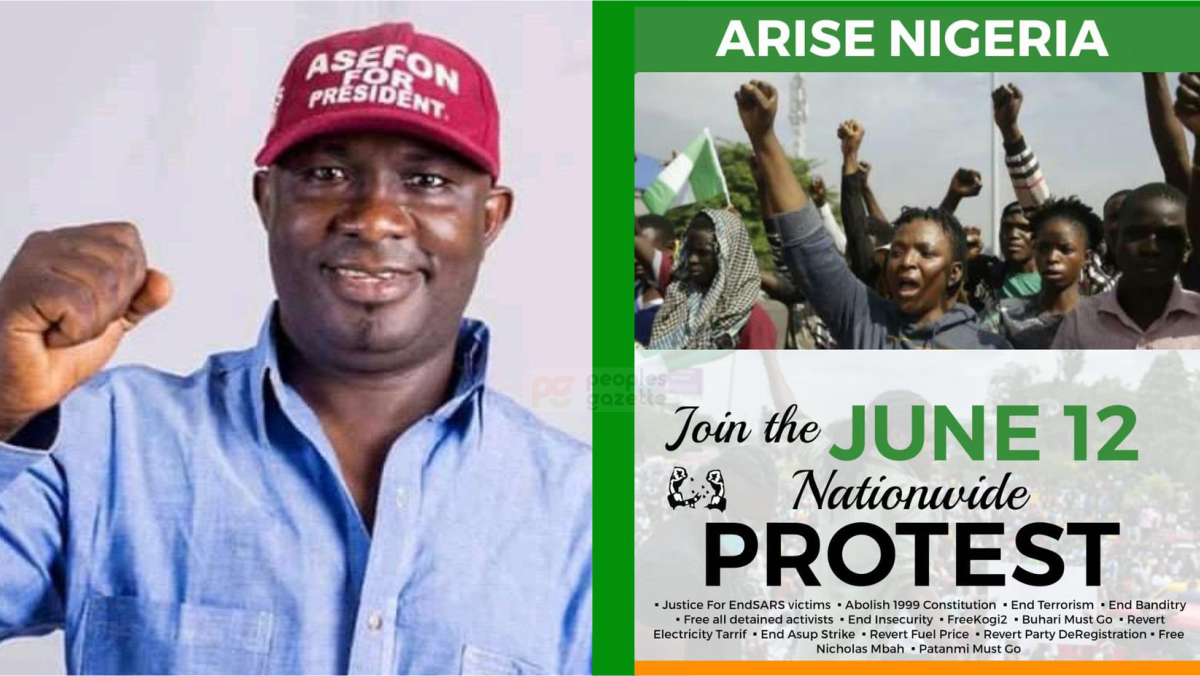 President of National Association of Nigerian Students (NANS), Sunday Asefon and June 12 Banner