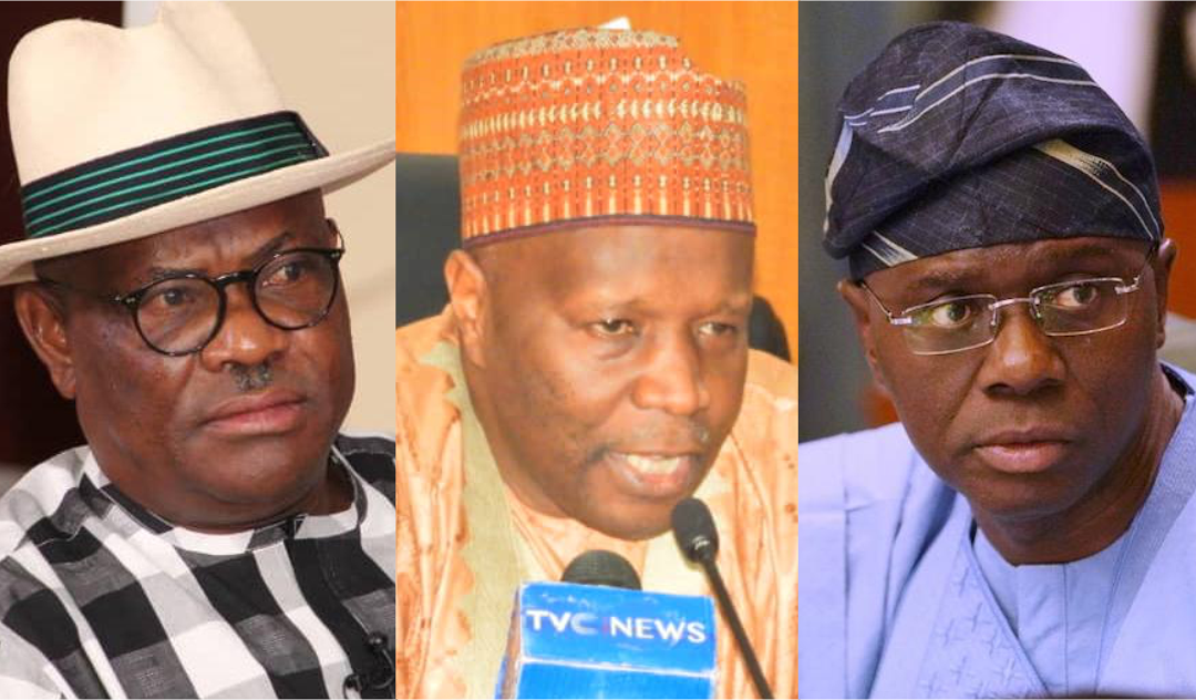 Rivers State Governor Nyesom Wike, Gombe State Governor Inuwa Yahaya, and Lagos State governor, Babajide-Sanwo-Olu