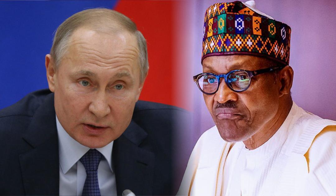 Russian President, Vladimir Putin and President Muhammadu Buhari