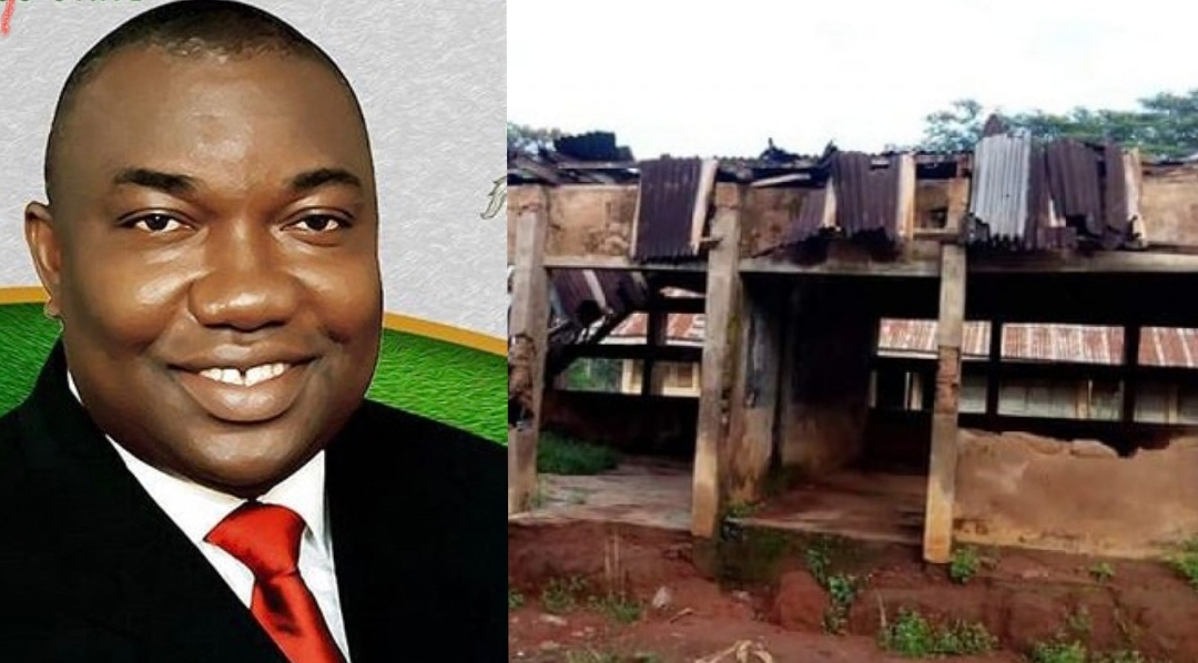 Ugwuanyi and a dilapidated school used to illustrate this story