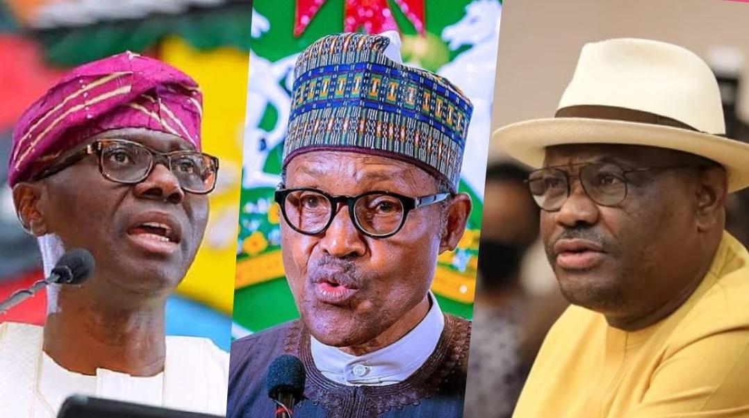Sanwo-Olu, Buhari and Wike composite