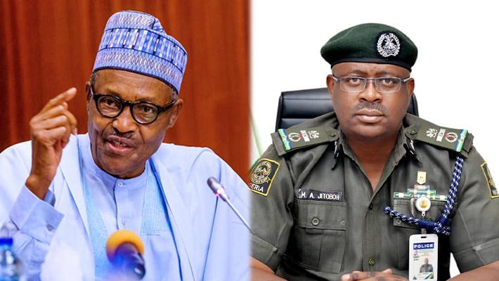 President Muhammadu Buhari and Moses Jitoboh.